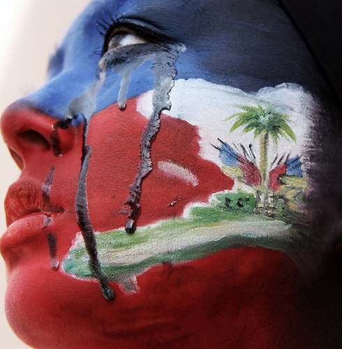 Haiti Flag Face Painting