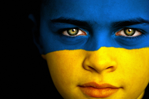 Ukraine Flag Face Painting