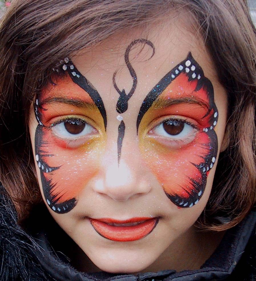 face painting of orange butterfly